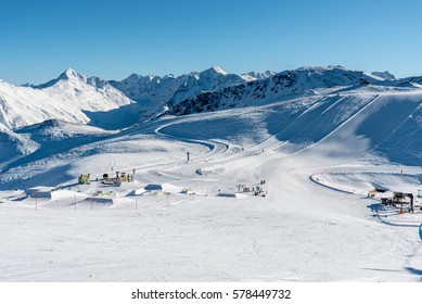 Stunning view of the peaks of Livigno on Carosello 3000 in Livigno, Italy