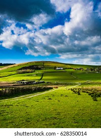Stunning view at Pendle Hill Area, AONB, Scenic view on Springtime at Forest Of Bowland, Lancashire, England UK