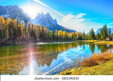 Stunning view of popular travel destination mountain lake Antorno in autumn. Location: Antorno lake, Dolomiti alps, Province of Belluno, Italy, Europe