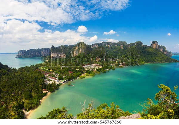 Stunning view of Railay Bay from the top of the mountain, Krabi Province, Thailand