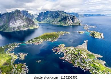 The stunning view from Reinebringen over Reine in Lofoten, Norway