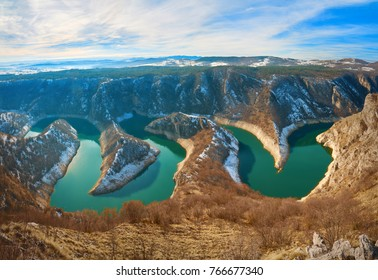 Stunning view of river canyon Uvac -Special Nature Reserve, Serbia. In winter.