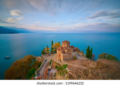 Stunning view of Saint John at Kaneo in the morning. It's a Macedonian Orthodox church situated on the cliff over Kaneo Beach overlooking Lake Ohrid in the city of Ohrid, Republic of Macedonia.