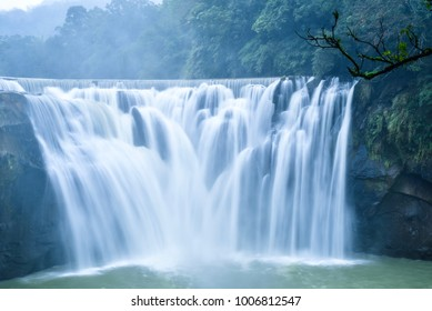 Stunning View of Shifen Waterfall in Pingxi District, Taiwan