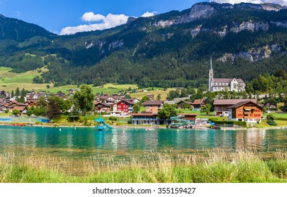 Stunning view of the small town Lungern on the lake side of Lungernsee on Bernese Oberland of Switzerland. This town lies on the railway line between Lucerne and Interlaken.
