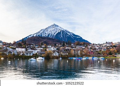 Stunning view of the Spiez village with the Niderhorn in background, on the lake side of Thun Lake in Spiez, Canton of  Bern, Switzerland