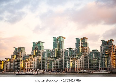 Stunning view of the St George Wharf area illuminated by a beautiful sunset. St George Wharf is a riverside development in Vauxhall, Lambeth, London, England.