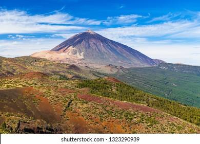 Stunning view of the Teide volcano. Las Cañadas del Teide. Tenerife. Canary Islands.Spain