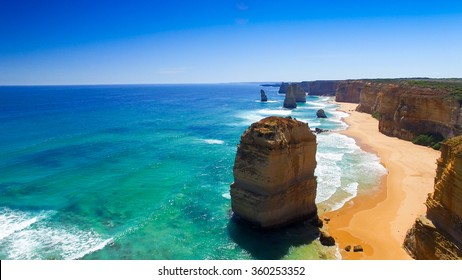 Stunning view of Twelve Apostles from helicopter, Australia.
