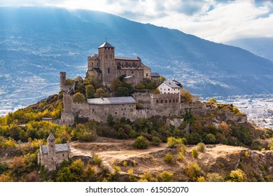 Stunning view of the Valere Basilica, an ancient fortified church in Sion, Canton of Valais, Switzerland