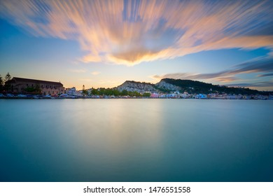 Stunning view of Zakynthos town from the sea on sunset. Long exposure. Holiday concept- Zakynthos island, Greece.