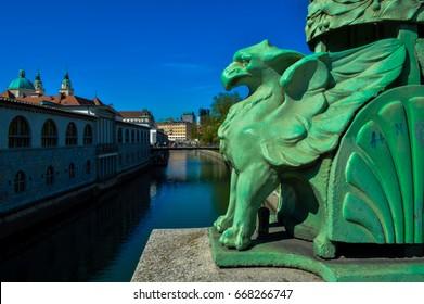 Stunning views of Ljubljana, Slovenia from Dragon Bridge