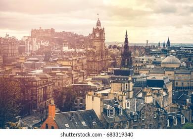 Stunning views over the city of Edinburgh, Scotland At Sunrise With Grain
