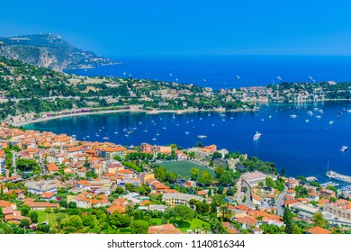 Stunning views of the small town of Villefranche-sur-Mer. French Riviera. Cote d'Azur