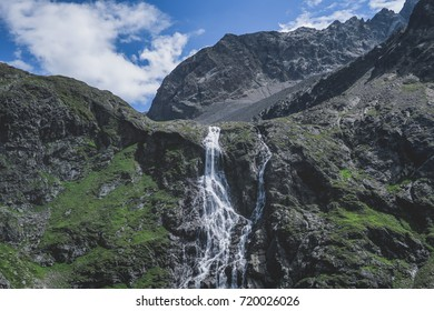 A stunning waterfall deep inside the Austrian alpine region