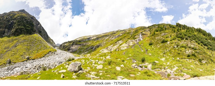 The stunning waterfall panorama of the Salzplatten, fed by the glaciers of the Venediger massive in the Austrian Hohe Tauern national nature reserve.