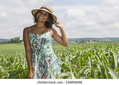 Stunning young biracial female in sundress and hat walking among early season corn field - farm