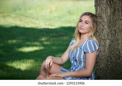 Stunning young blonde woman in summer dress sitting against tree in shade