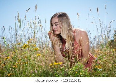 Stunning young blonde woman in summer dress standing in field of flowers and tall grass - bending to smell flowers