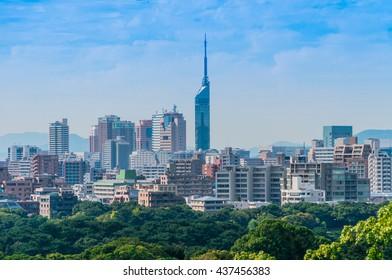 Stunnning view from Maizuru park of Fukuoka city with Fukuoka tower background