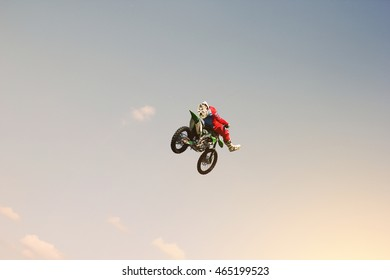 Stunt rider doing a stunt in the sky