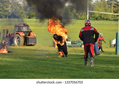 stunt show with bike and man on fire