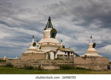 Stupa at ancient Eredene Zuu monastery. Karakorum Mongolia.