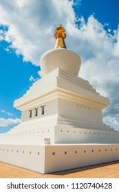 Stupa in Benalmadena, Spain. exterior view of a buddhist temple