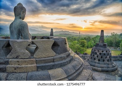 The stupa of Candi Borobudur / Borobudur temple, the world's largest Buddhist temple located in Central Java