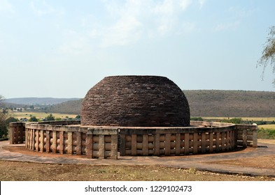 Stupa no 2 at the Sanchi Stupa Complex in the hilltop at Sanchi Town in Raisen District near Bhopal, Madhya Pradesh. This stupa is considered as the birthplace of Jataka illustrations.