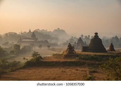 Stupa Pagoda and Budda Image in Mrauk U,Rakhine State,Myanmar.