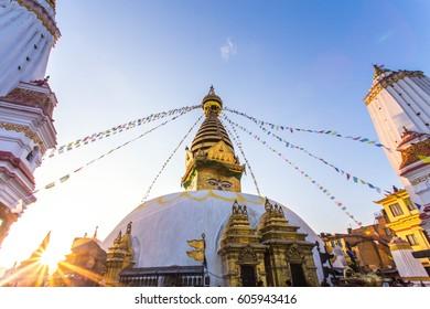 stupa shot before earthquake Monkey Swayambhunath temple  , Kathmandu, Nepal