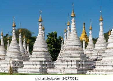 Stupas around the Sandamuni Pagoda in Mandalay, Myanmar