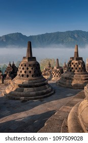Stupas at Borobudur Temple in the morning
