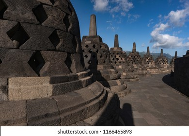 Stupas of Borobudur temple near the town of Muntilan in Central Java in Indonesia_