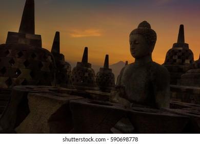 Stupas at Borobudur Temple - Yogyakarta, Indonesia