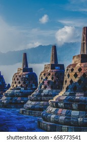 Stupas in Borobudur, world's largest Buddhist temple