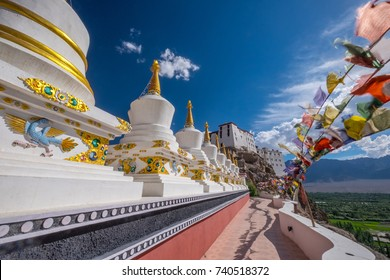 Stupas at Thiksey monastery, located on top of a hill in Thiksey village east of Leh in Ladakh, India.