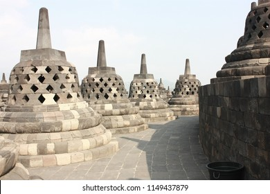 Stupas at the top layer of Borobudur temple in Magelang, Indonesia.