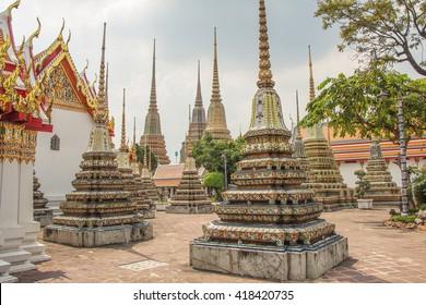 Stupas in Wat Pho in Bangkok