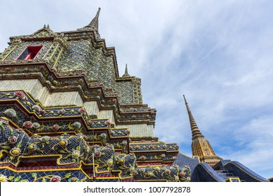 Stupas of Wat Po. Wat Po is a Buddhist temple complex in the Phra Nakhon District, Bangkok, Thailand.
