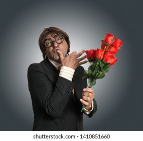Stupid playboy portrait with roses