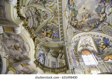 STUPINIGI, ITALY - APRIL 23, 2017: Balcony and fresco on the rooftops of palazzina di caccia of Stupinigi (1729)
