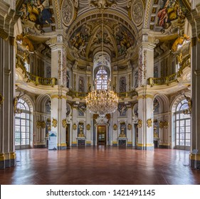 Stupinigi, Italy – May 28, 2019: In the castle of Stupinigi, one of the royal residences (World Heritage Sites) surrounding Turin and used by the House of Savoy as a place of leisure and hunting.