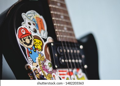STUPINO, RUSSIA - DECEMBER 8, 2015: Les Paul guitar with a lot of stickers on it