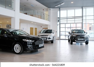 Stupino, Russia - January, 24, 2017: Showroom of a cars dealershiop in Stupino, Russia