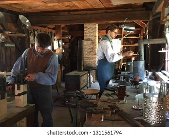 STURBRIDGE, MA - JUN 26: Tin shop at Old Sturbridge Village in Sturbridge, Massachusetts, on Jun 26, 2016. Its a living museum re-creating life in rural New England during the 1790s through 1830s.