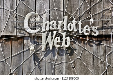 """Sturbridge, MA/USA- July 4, 2018: A horizontal image of the wall display for an upcoming performance of """"Charlotte's Web"""" at historic Old Sturbridge Village."""