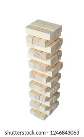 A sturdy tower of wooden blocks isolated on white background.