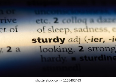 sturdy word in a dictionary. sturdy concept.